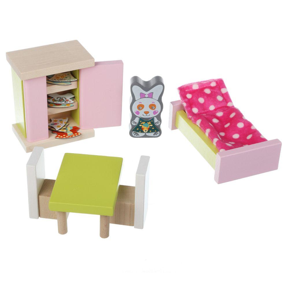 Attīstošs koka kluču komplekts Eko rotaļlietas Guļamistaba