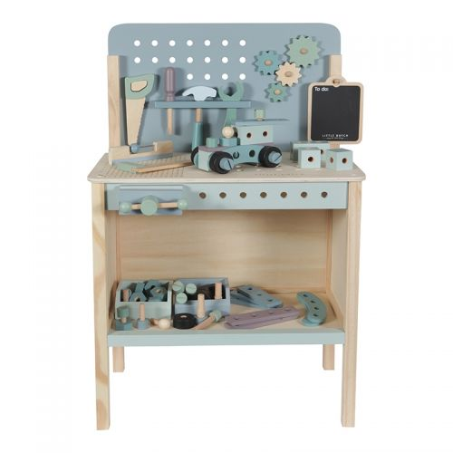 Educational wooden game Wooden toy workbench with toolbelt