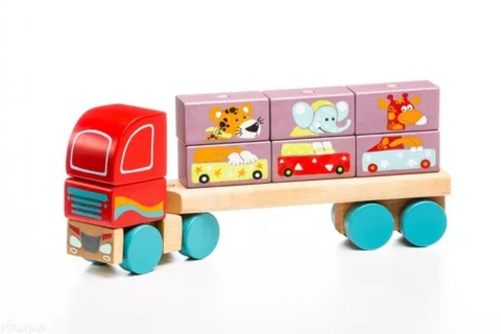 Wooden car Truck with building blocks LM-14