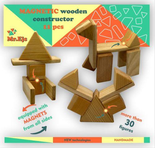 Educational wooden Construction set magnetic constructor 11 pcs.
