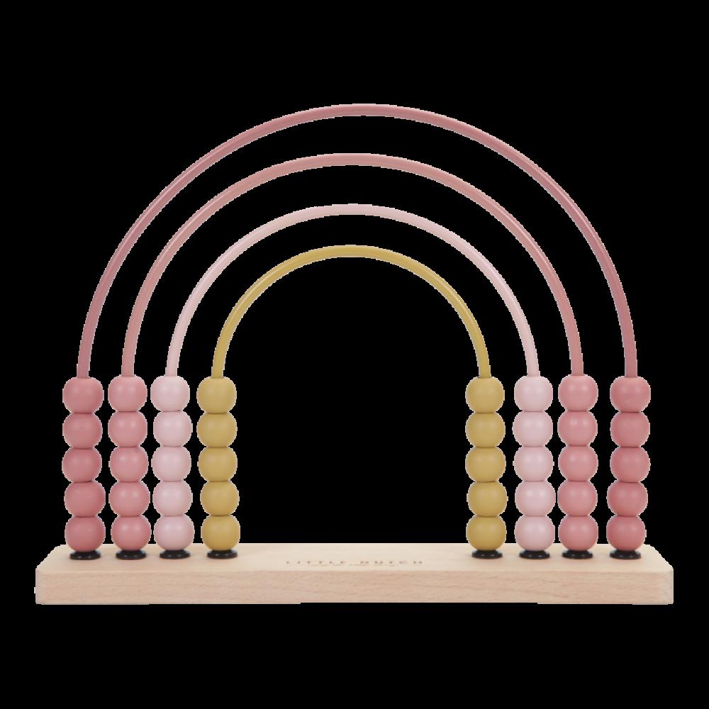 Koka attīstošā spēle Koka skaitamie kauliņi Rozā varavīksne