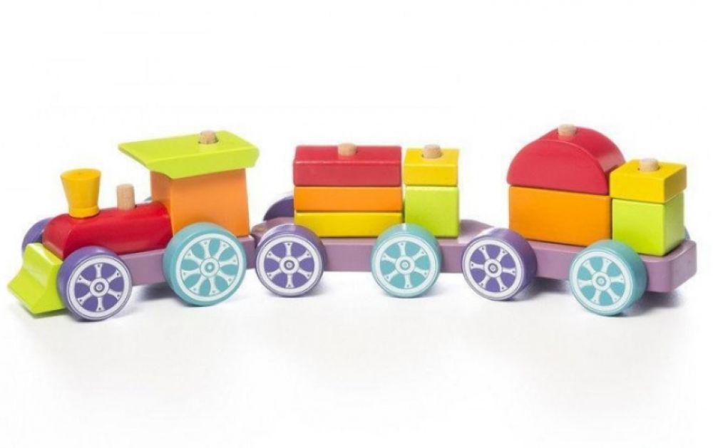 Деревянный Поезд сортер Радужный экспресс