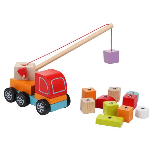 Wooden car Truck crane with elements on the magnets