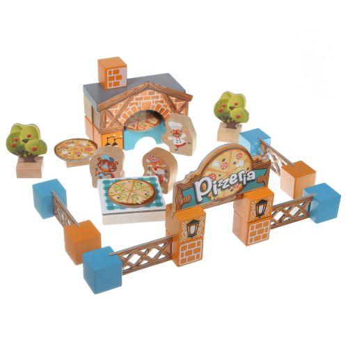 Развивающие деревянные кубики ЭКО Пиццерия