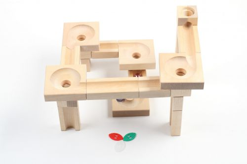 Educational wooden game Wooden Marble Run Fix&Lock Twister edition