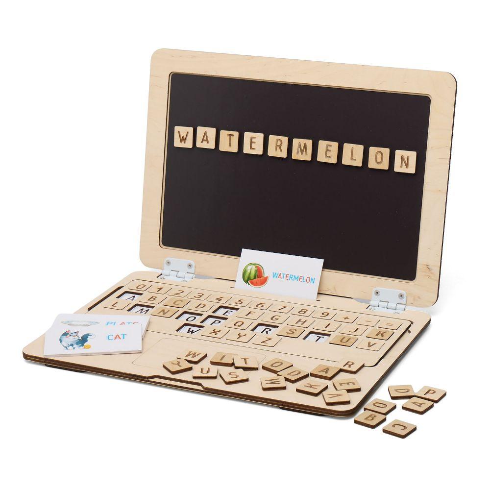 Koka attīstošā spēle Magnēta dators ar alfabētu (ENG)