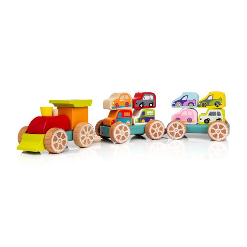Educational wooden train with cars