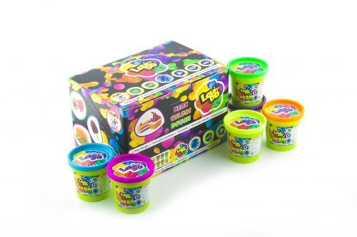 Play dough Set - Set of 12 cups in displaybox Neon