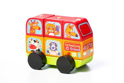 Wooden car Funny animals LM-10