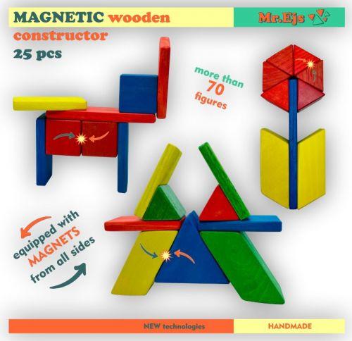 krāsains magnētiskais konstruktors 25 gab.
