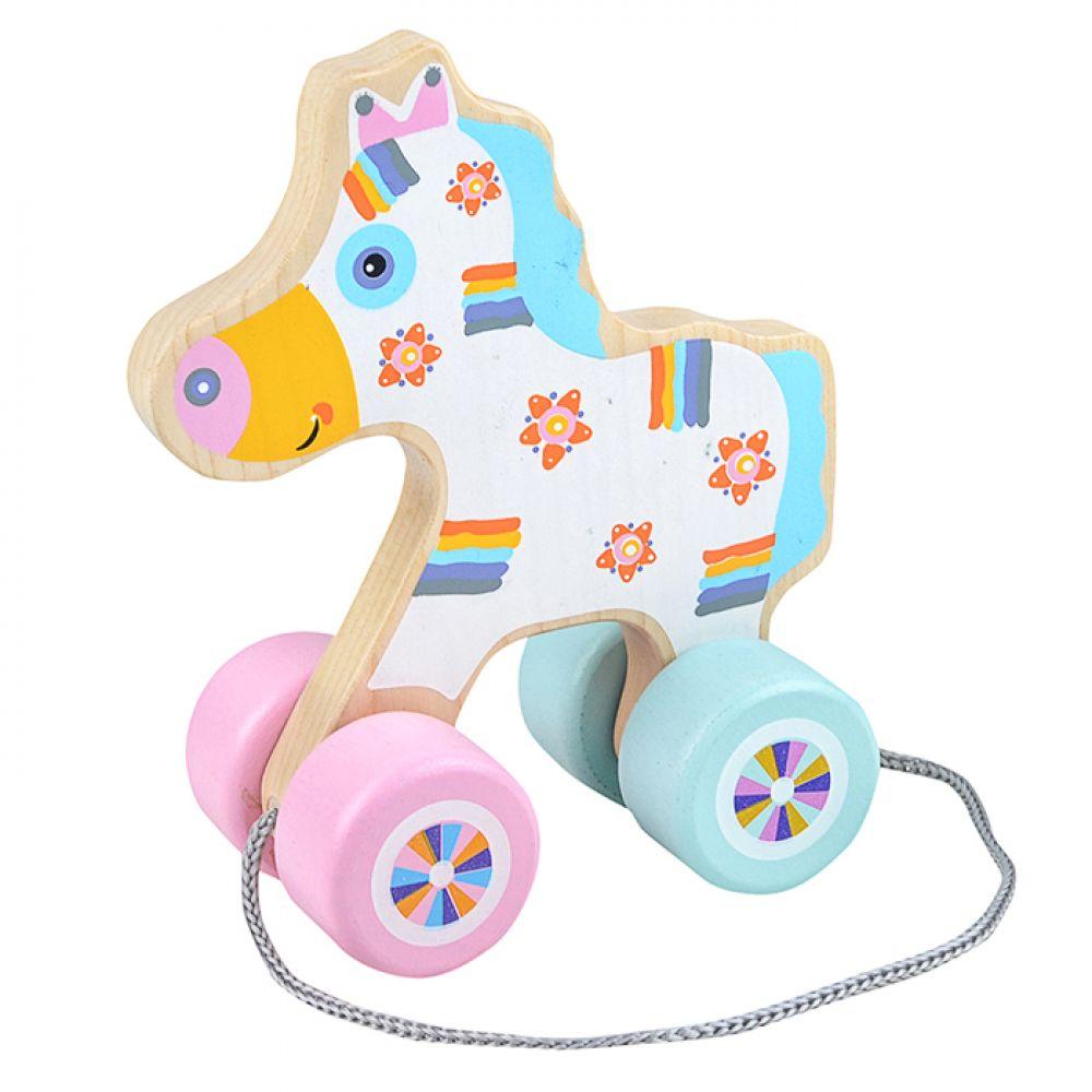 Koka velkamā rotaļlieta Laimīgs zirgs
