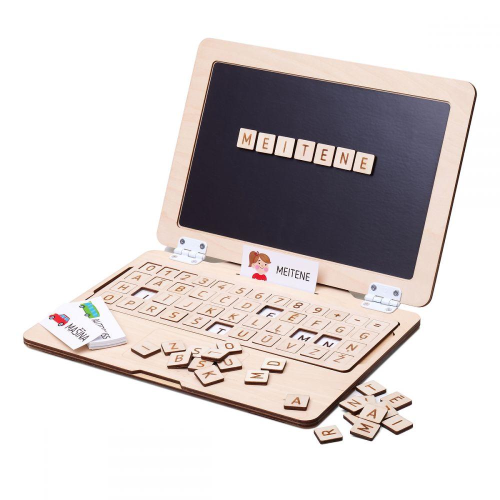Koka attīstošā spēle Koka portatīvais magnēta dators ar alfabētu (LV)