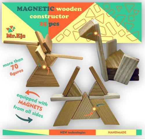 Educational wooden Construction set magnetic constructor 25 pcs.